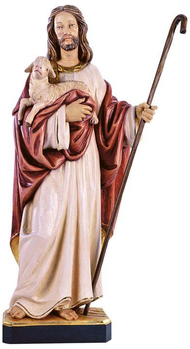 jesusfiguren und jesus christus statuen jesus der gute hirte ohne schafe holzschnitzerei wlach. Black Bedroom Furniture Sets. Home Design Ideas